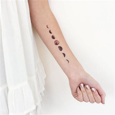 moon phases temporary tattoo wrist ankle body sticker fake