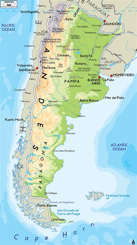 argentina physical map physical map of argentina ezilon maps