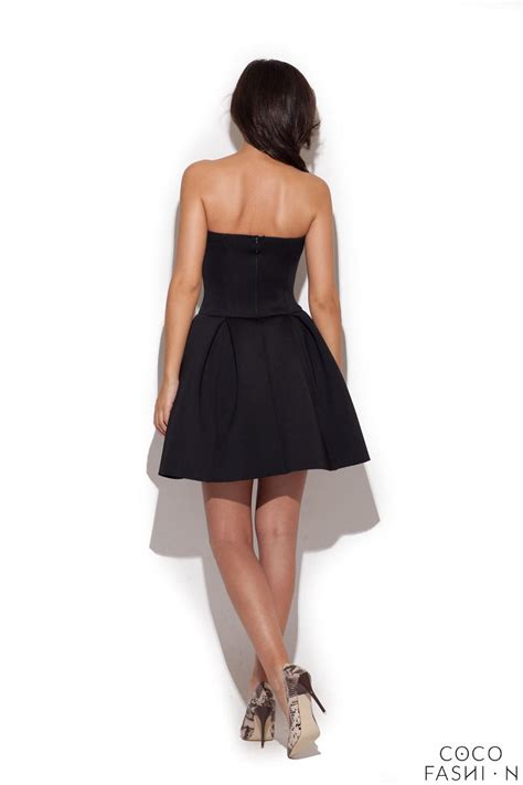 black bandeau dress with pleated skirt