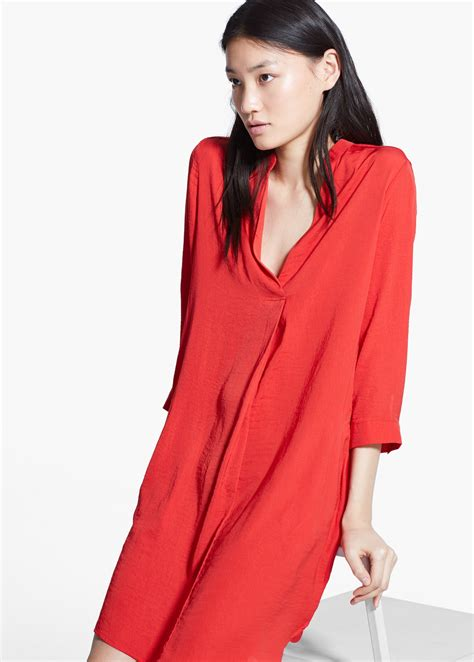 Flowy Shirt Dress Mango lyst mango flowy shirt dress in