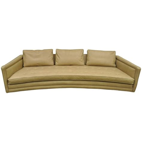 Long Curved Harvey Probber Button Tufted Leather Mid Mid Century Modern Sofa For Sale