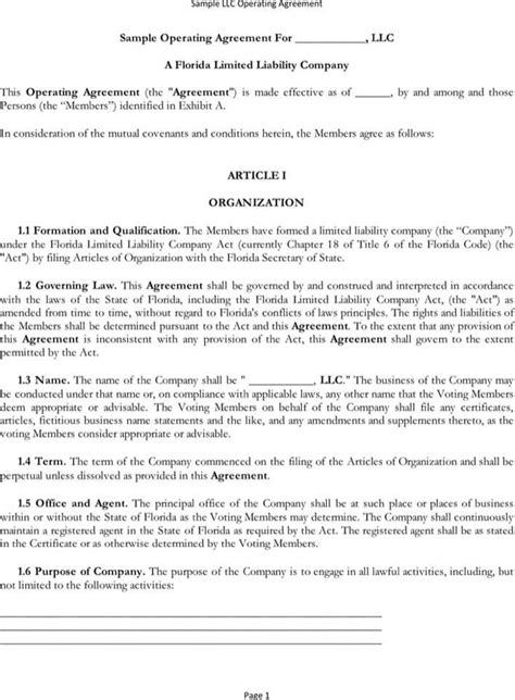 Sle Operating Agreement Download Free Premium Templates Forms Sles For Pdf Formats Washington State Llc Operating Agreement Template