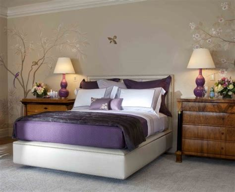 Purple And Grey Bedroom by Purple Bedroom Decor Ideas With Grey Wall And White Accent