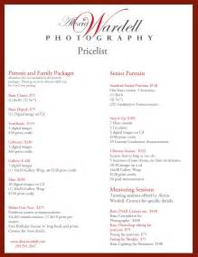 photography price list template free photography price list template search engine