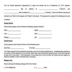 Car Rental Agreement Contract Car Rental Agreement Templates 6 Free Documents In Pdf