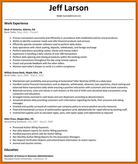 0 Experience Resume by 0 1 Bank Teller Resume With No Experience Formatmemo