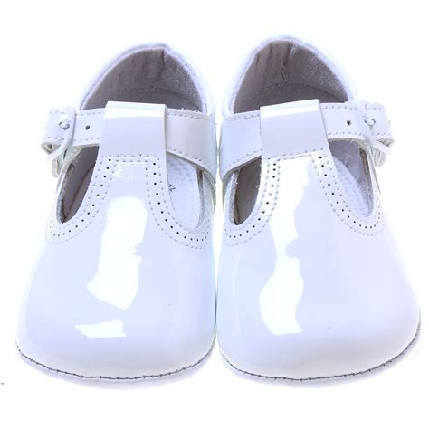 baby t bar white patent pram shoes with buckle fastening