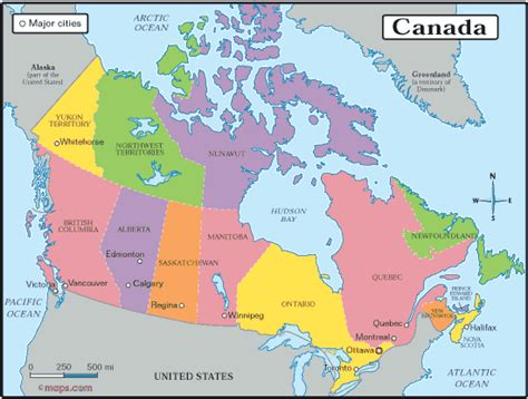 map of canada with provinces