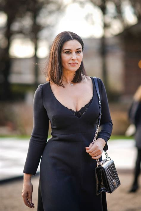 monica bellucci and monica bellucci leaves the dior show during haute couture