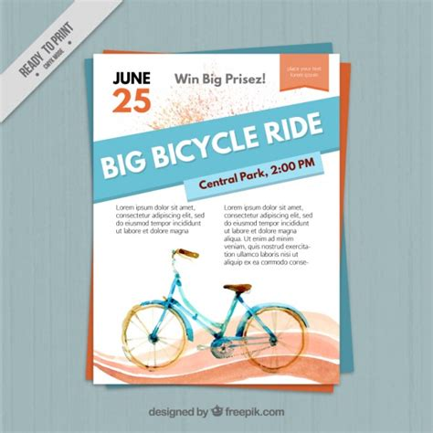 Watercolor Flyer With A Bicycle Vector Free Download Bike Flyer Template Free