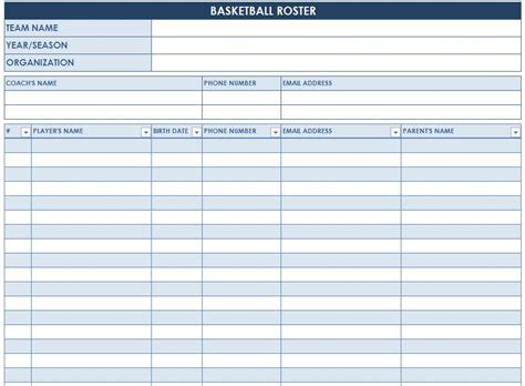 Basketball Roster Template Basketball Roster Sheet Basketball Roster Template Pdf