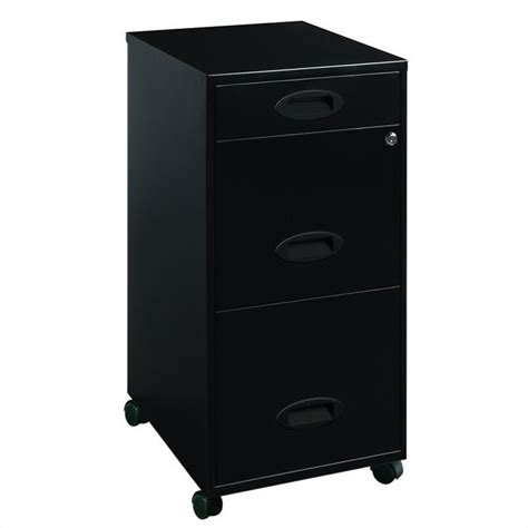 mobile 3 drawer file cabinet in black 17427