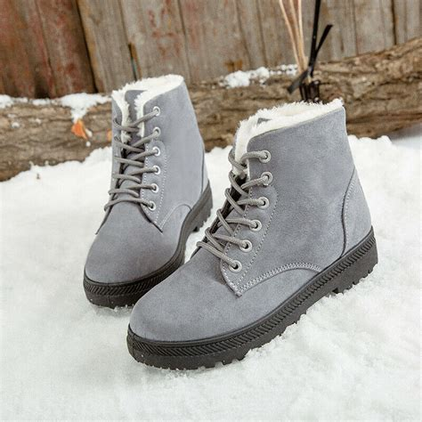 ladies womens flat lace fur  lined snow winter boots
