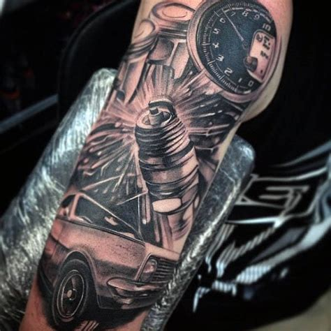 Motorrad Tacho Tattoo by 70 Spark Plug Tattoo Designs For Men Cool Combustion Ink