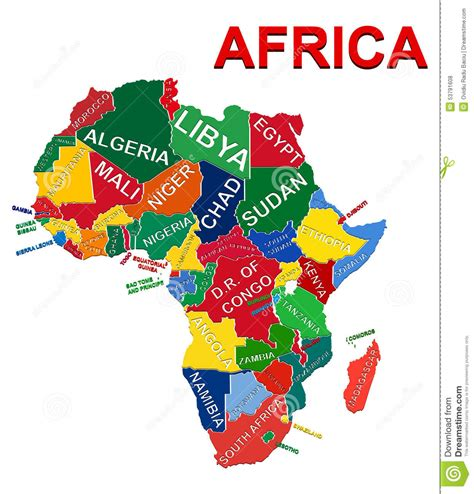 illustration of world map with country name africa political map stock vector image 53791608