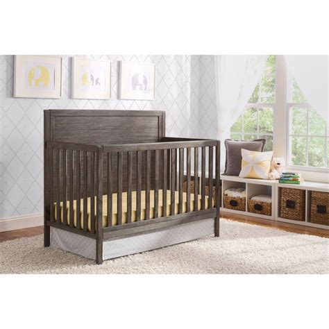 Convertible Crib 4in1 Rustic Grey Wood Child Bedroom Child Crib Bed