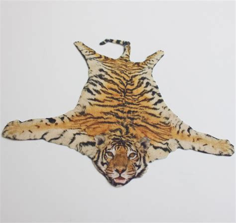 miniature faux tiger skin rug for dollhouse in 1 12 scale
