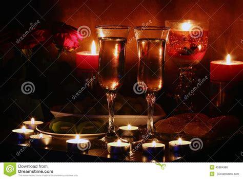 romantic evening  candlelight stock photo image