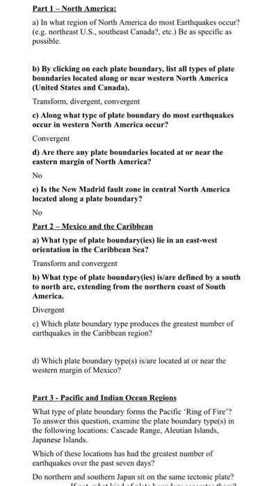 earthquake quiz questions and answers solved google earth earthquakes and plate tectonics in th