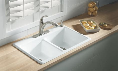 porcelain kitchen sink small derektime design it s a kohler k 5840 4 0 anthem cast iron self rimming sink with