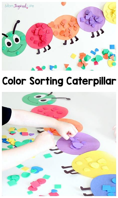 Shape And Color Sorting Caterpillar Colour Activities For Preschoolers
