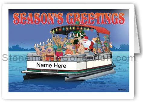 pontoon cards party boat name christmas card
