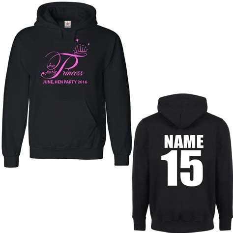 personalised stag hen princess hoodie with custom text on