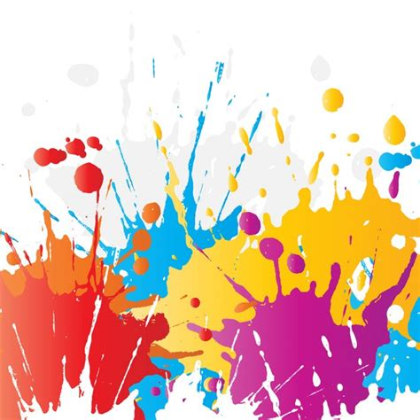 abstract background of brightly coloured paint splats vector free