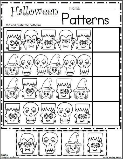 halloween pattern worksheets for kindergarten halloween patterns cut and paste free math worksheets