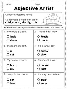 Adjectives Common Core Practice Sheets L.1.1.F by Tiny