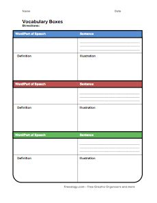 Study Flash Cards Template by Vocabulary Boxes Freeology