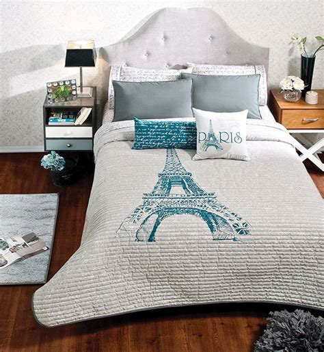 eiffel tower bed set new double sided girls women gray eiffel tower paris thin comforter bedding set ebay