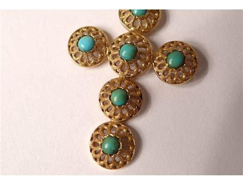Turquoise Lava L by Cross Pendant Jewelry 18k Solid Gold Eagle Turquoise