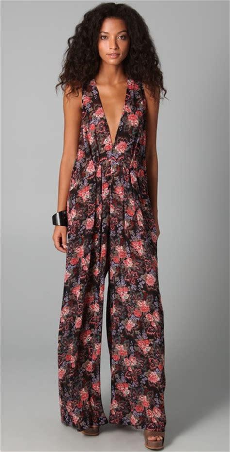 flower design jumpsuit zimmermann floral jumpsuit in floral lyst