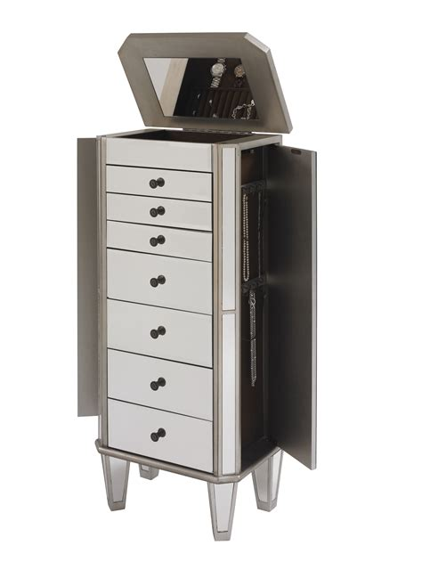 silver armoire l powell mirrored jewelry armoire with quot silver quot wood