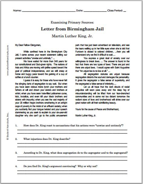 Response Letter To Letter From Birmingham Worksheets Printable Mlk Quotes Quotesgram