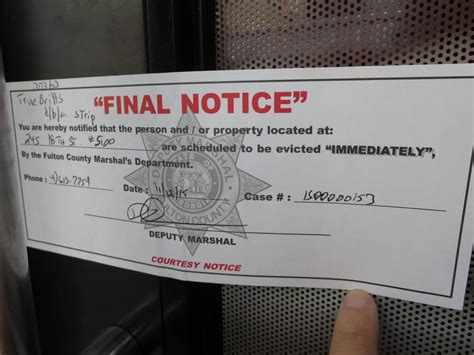 Fulton County Eviction Search Eviction Notice Dated 11 12 2015 From Fulton County Marshal S Department R I P