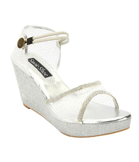 savie shoes white wedges medium heeled sandals price in