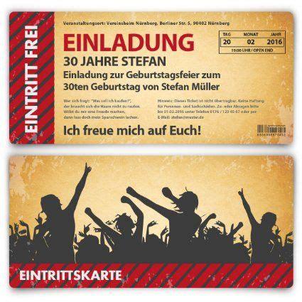 Eintrittskarten Design Vorlage Einladung Zum Geburtstag 30 St 252 Ck Als Eintrittskarte Im Vintage Look Ticket Karte