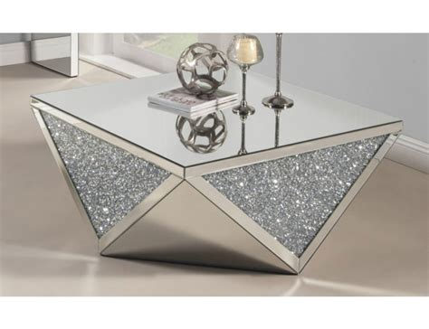 Table With Crystals Glimmer Mirrored Coffee Table With Crystals