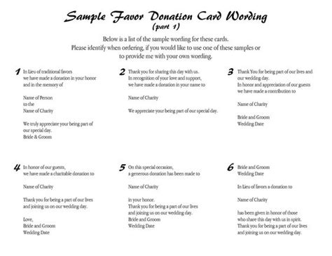 Wedding Favour Donations Wedding Favors And Favors On Pinterest A Donation Has Been Made In Your Honor Template