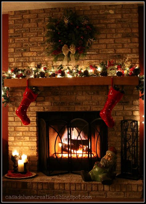 red stockings christmas fireplaces pinterest