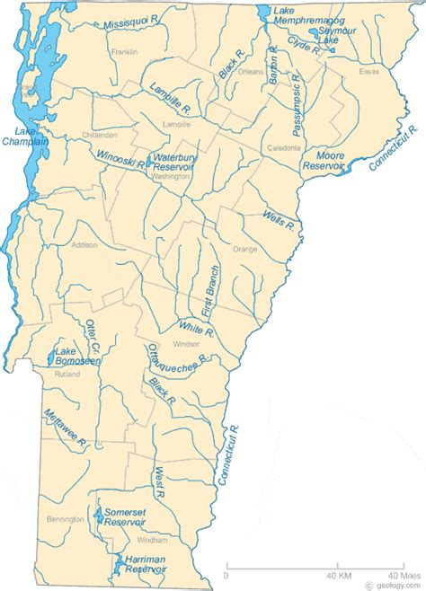 map of vermont details