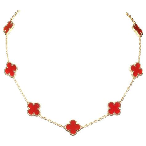 Carnelian Motif cleef and arpels 10 motif carnelian alhambra necklace