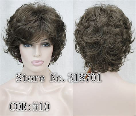 Wig Wavy brown wavy curly fashion wig synthetic hair wigs colour choices 16colors free shipping