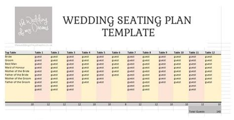 Wedding Seating Plan Template Planner Free Download The Wedding Of My Dreams Guest Seating Chart Template