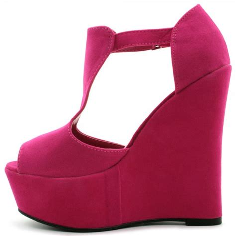 wedge heel suede heel platform ankle buckle shoes