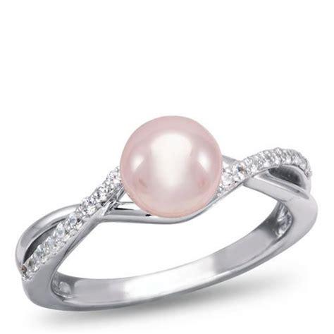 pink pearl engagement ring weddings