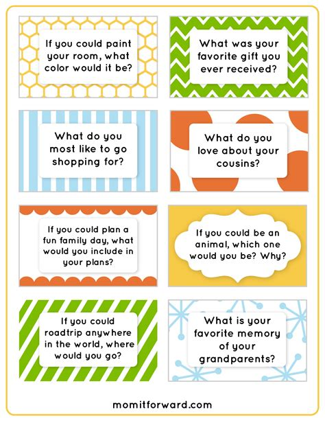 dinner conversation starters cards 8 best images of printable family discussion family