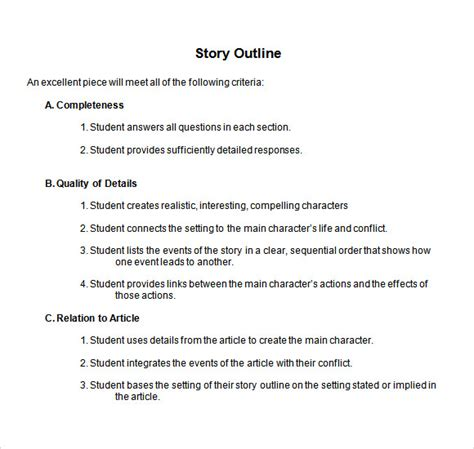novel outline templates story outline template 9 free documents in pdf